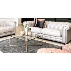 Iris Square Coffee Table in Glass and Brass